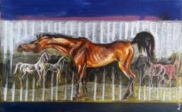 """""""herghelie"""" , acrilic pe panza, dimesiune 50/80 cm , autor Alina Manole"""